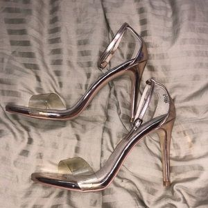 Steve Madden Rosegold clear strappy heels